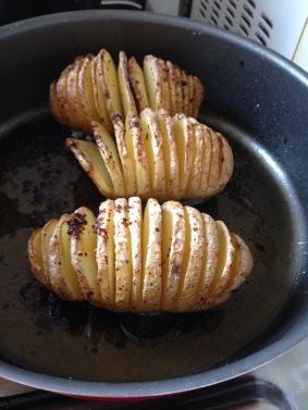 Batatas cortadas em fatias